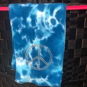 Blue tie dye winter scarf with peace sign